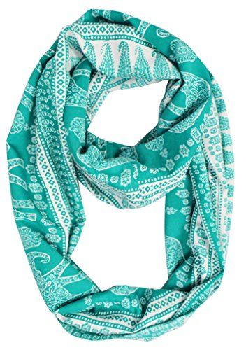 Green Tribal Paisley Floral Elephant Animal Print Infinity Loop Scarf, one size