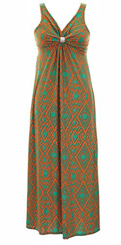 Orange Tribal Print Summer Sleeveless Tank Bodycon Maxi Dress (Medium)