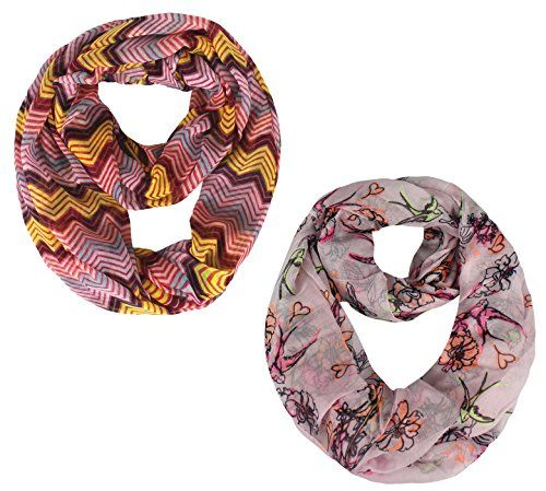 Peach Couture Tribal Scarf and Humming Bird Scarf Infinity Scarf Sheer Circle Fuchsia and Pink