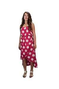 Fuchsia Tulip Hem Sleeveless High Low Vintage Polka Dot Airy Light Dress