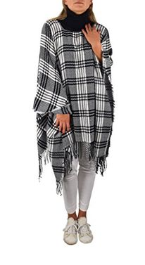 Peach Couture Turtle neck Checkered Winter Plaid Oversized Poncho Sweater Pullovers with Fringes Black White