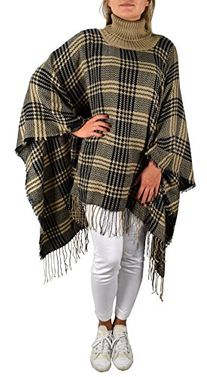 Peach Couture Turtle neck Checkered Winter Poncho Blanket Scarf Sweater Pullovers with Fringes Navy Taupe