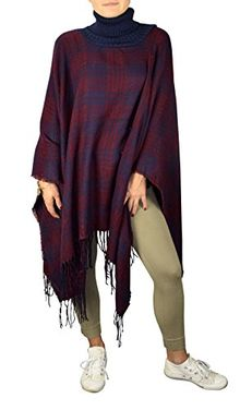 Peach Couture Turtle neck Checkered Winter Poncho Sweater Oversized Fringe Scarf Navy Maroon