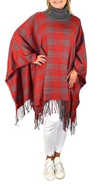 Peach Couture Turtle neck Checkered Winter Poncho Sweater Pullovers with Fringes Red Grey