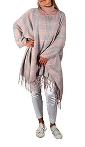 Pink Sky Blue Turtle Neck Checkered Winter Tartan Plaid Poncho Sweater Pullovers With Fringes