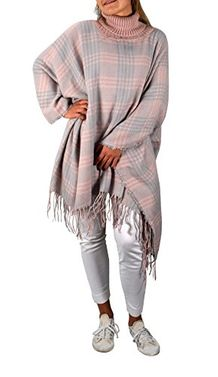 Peach Couture Turtle Neck Checkered Winter Tartan Plaid Poncho Sweater Pullovers With Fringes Pink Sky Blue