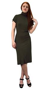 Olive Turtle Neck Short Sleeve Midi Dress