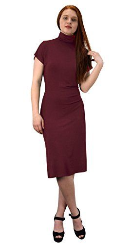 Peach Couture Turtle neck Short Sleeve Midi Dress Wine