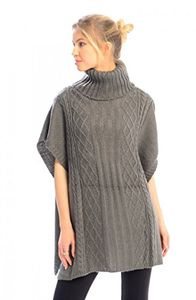 Peach Couture Turtleneck Cable Knit Button Sweater Front Pockets Wrap Poncho (Grey)