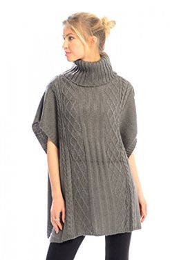 Grey Turtleneck Cable Knit Button Sweater Front Pockets Wrap Poncho