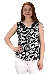 Black Two Tone Floral Rose Print Laced Neck Line Womens Top Blouse Shirt Medium