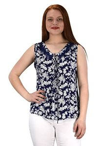 Navy Two Tone Floral Rose Print Laced Neck Line Womens Top Blouse Shirt Large