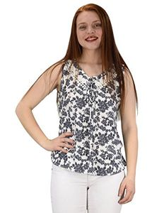 White Two Tone Floral Rose Print Laced Neck Line Womens Top Blouse Shirt Medium