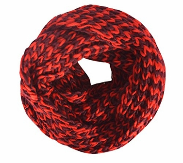 Maroon Red Unisex Chevron Design Hand Knit Thick Chunky Infinity Loop Scarves