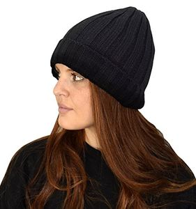 Black Unisex Thick Knitted Double Layer Fleece Lined Winter Beanie Hat Cap