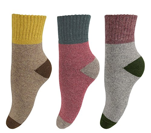Peach Couture Unisex Warm And Cozy Colorful Pattern Cotton Blend Crew Socks 3 Pack Grey Red Beige