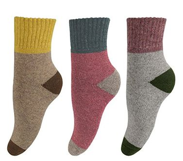 Unisex Warm And Cozy Colorful Pattern Cotton Blend Crew Socks 3 Pack Grey Red Beige