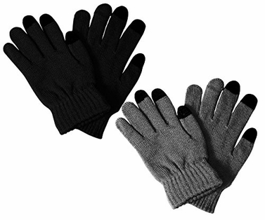 Black Grey Unisex Warm Knitted Texting Gloves for Iphone Android Smart phones Touch screens 2 Pack