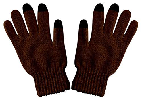 Brown Unisex Warm Knitted Texting Gloves for Iphone Android Smartphones Touch screens