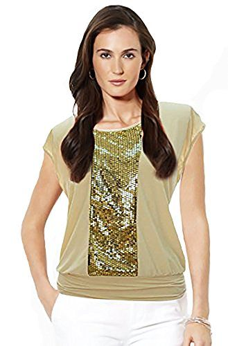 Ivory Scoop Neck Sequin Fashion Tunic Top (Small)