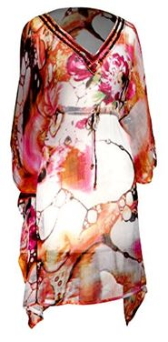 Coral Floral V Neck Aline Dress Tie Dye Print Floral Pattern Summer Tunic Dress Cover up Large
