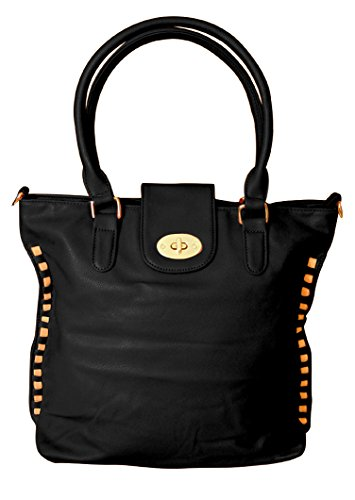 Peach Couture VALENTINA Top Handle Slouchy Hobo Hand Bag Office Style Tote Purse (Black)