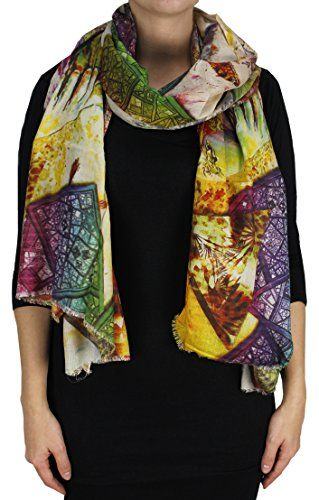 Red Peacock Digital Printed Rainbow Fringe Scarves