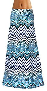 Blue Variety Fold Over The Waist Banded Maxi Skirt Chevron Small