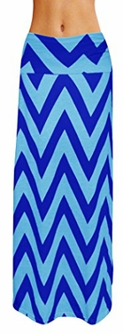 Turquoise-Navy Variety Fold Over The Waist Banded Maxi Skirt Chevron Medium