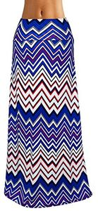 Red-Blue Variety Fold Over The Waist Banded Maxi Skirt