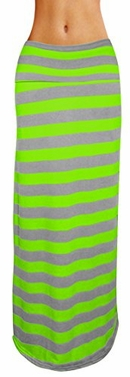 Lime-Grey Variety Fold Over The Waist Banded Maxi Skirt Striped