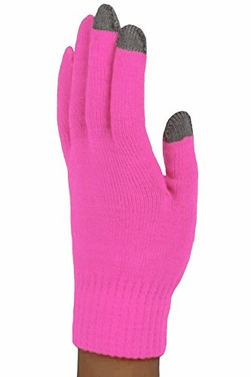 Hot Pink Neon Touch Screen Knit Gloves in Bright Colors