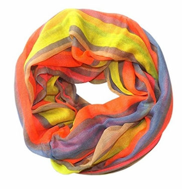 Neon Pink Striped Design Fashionable Multicolor Infinity Loop Scarf