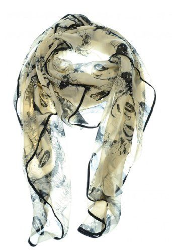 Black Border Silk Vintage Chiffon Feel Marilyn Monroe Design Scarf/wrap