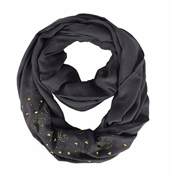 Grey Vintage Embellished Paisley Sequin Infinity Scarf Circle Loop