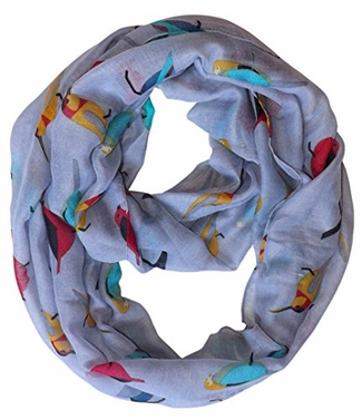 Grey Vintage Finch Bird Print Sheer Infinity Loop Scarf