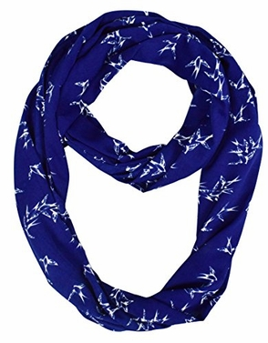 Royal Blue Vintage Graphic Bird Print Scarf Infinity Scarf Skinny Loops