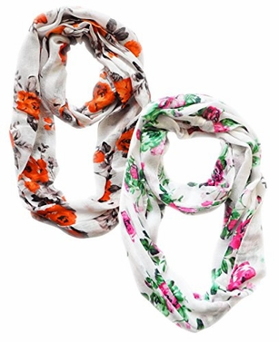 Vintage Inspired Floral Print Scarf (Orange Black and Fuchsia Green)