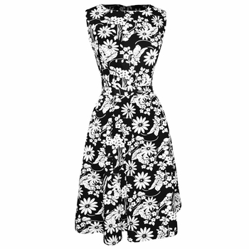 Black White Vintage A-Line Shift Dress with Fabric Belt Tie