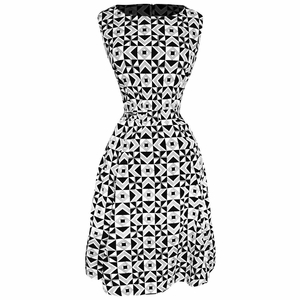 Black White Vintage  A-Line Shift Dress with Fabric Belt Tie (Art Deco)