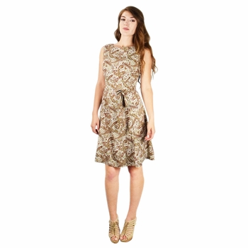 Olive Burgundy Vintage Inspired Pattern A-Line Shift Dress