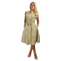 Tan Cotton Vintage Button Up Shift Dress