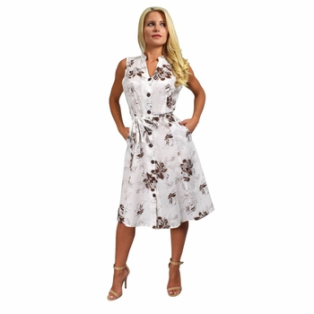 Brown-White Floral Vintage Pattern A-Line Shift Dress