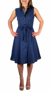 Nautical Navy Vintage A-Line Shift Dress with Fabric Belt Tie