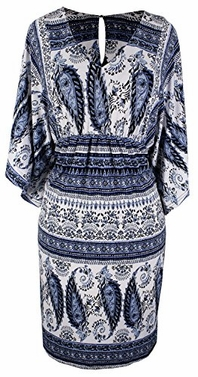 Blue Vintage Paisley Wide Sleeve V-Neck Knee Length Tribal Dress