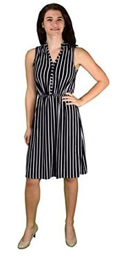 Black Vintage Pinstripe Button Up Sleeveless Shift Dress Large