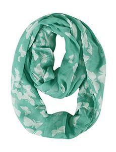Green White Vintage Scarf Butterfly Scarf Sheer Infinity Scarf Circle Scarf
