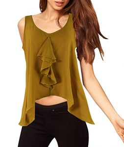 Mustard Vintage Sheer Summer Open Back Ruffle Evening Top Blouse