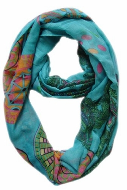 Aqua Vivid & Lively Paisley Damask Infinity Loop Scarf