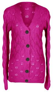 Magenta Warm Adorable Leaf Pattern Classic Knit Cardigan w/ Large Buttons